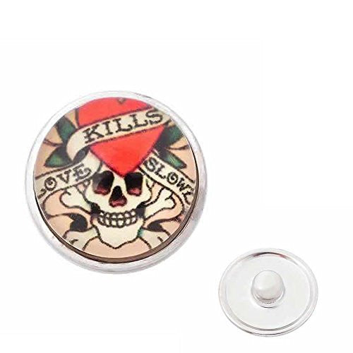 Skull Chunk Snap Jewelry Button Round Silver Tone Fit Chunk Bracelets