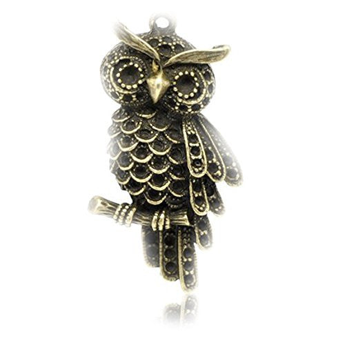 Antique Bronze plated base Owl Charm Pendant for Necklace - Sexy Sparkles Fashion Jewelry - 1