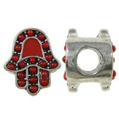 Hamsa or Hand of Fatima Spacer Bead For Snake Chain Bracelet (Red)