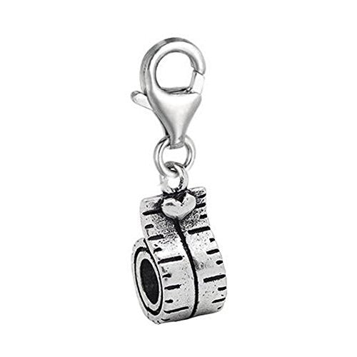 Clip on Tape Measure Charm Pendant for European Jewelry w/ Lobster Clasp