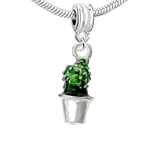 3D Mothers Day Gift Cactus Pot Plant Charm Bead - Sexy Sparkles Fashion Jewelry