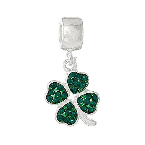 Four Leaf Clover With Green ed Crystals Charm Bead