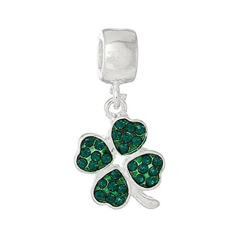 Four Leaf Clover With Green ed Crystals Charm Bead - Sexy Sparkles Fashion Jewelry - 1