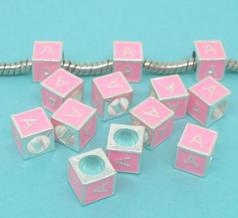 """A"" Letter Square Charm Beads Pink Enamel European Bead Compatible for Most European Snake Chain Charm Bracelet - Sexy Sparkles Fashion Jewelry - 2"