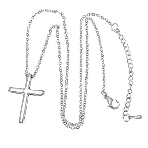 Fashion Jewelry Womens Necklace Silver Tone Cross Clear Rhinestone 43.5cm(17 1/8) Long - Sexy Sparkles Fashion Jewelry - 2