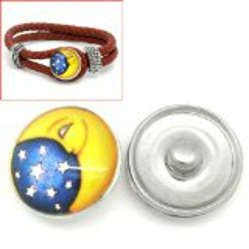 Stars and Moon Design Glass Chunk Charm Button Fits Chunk Bracelet