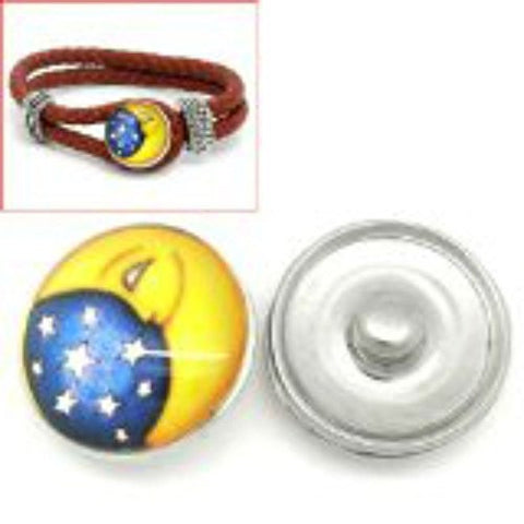 Stars and Moon Design Glass Chunk Charm Button Fits Chunk Bracelet - Sexy Sparkles Fashion Jewelry - 1