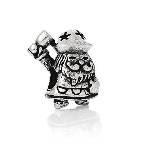 Christmas Santa Claus w/ Star Hat Charm Bead Spacer Compatible for Most European Snake Chain Bracelet - Sexy Sparkles Fashion Jewelry - 1