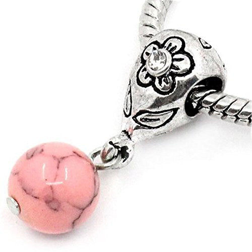 Pink Dangle Ball with Rhinestones Bead Charm Spacer for Snake Chain Charm Bracelets