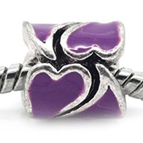 Heart Pattern Bead European Bead Compatible for Most European Snake Chain Braceletss (Purple)