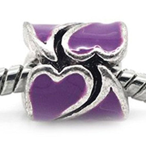 Heart Pattern Bead European Bead Compatible for Most European Snake Chain Braceletss (Purple) - Sexy Sparkles Fashion Jewelry - 1