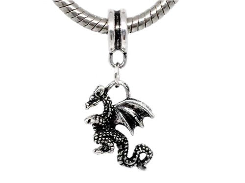 Flying Dragon 3d Dangle Charm European Bead Compatible for Most European Snake Chain Bracelet