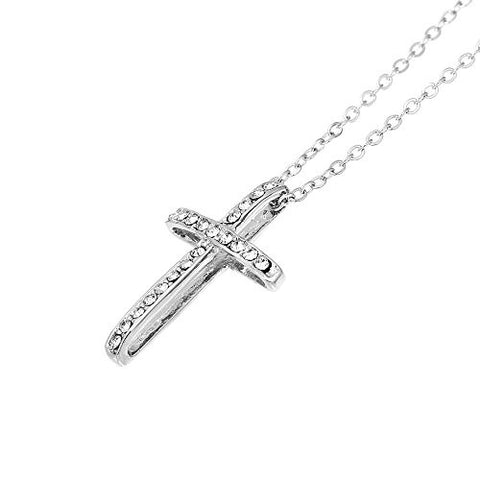 Fashion Jewelry Womens Necklace Silver Tone Cross Clear Rhinestone 43.5cm(17 1/8) Long - Sexy Sparkles Fashion Jewelry - 3