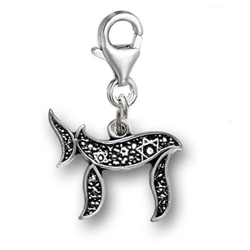 Clip on Chai Dangle Pendant for European Clip on Charm Jewelry w/ Lobster Clasp