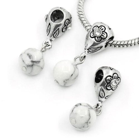 White Dangle Ball with Rhinestones Bead Charm Spacer for Snake Chain Charm Bracelets - Sexy Sparkles Fashion Jewelry - 3