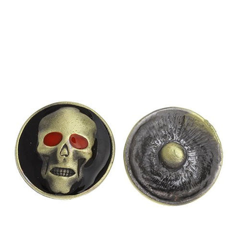 Chunk Snap Buttons Fit Chunk Bracelet Round Antique Bronze Enamel Red Halloween Skull Pattern - Sexy Sparkles Fashion Jewelry - 1
