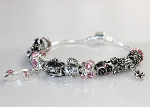 "Happy Birthday Snake Chain Charm Bracelet European Style (8.5"") - Sexy Sparkles Fashion Jewelry - 3"