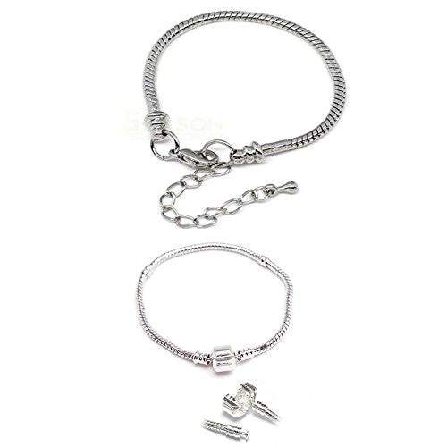 "2 (Two) 8.5"" Silver Tone Snake Chain Classic Bead Barrel Clasp +Starter Master Lobster Clasp Bracelet - Sexy Sparkles Fashion Jewelry"