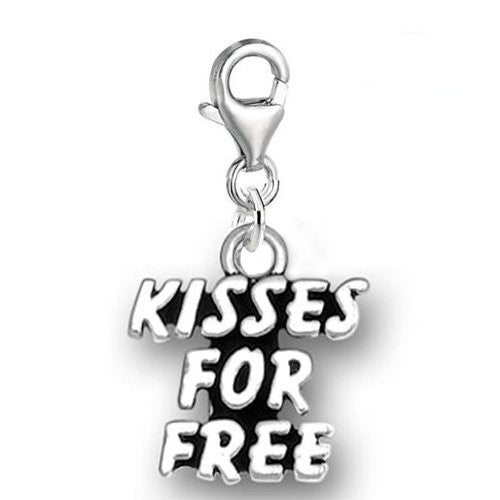 Clip on Kisses for Free Dangle Pendant for European Clip on Charm Jewelry w/ Lobster Clasp