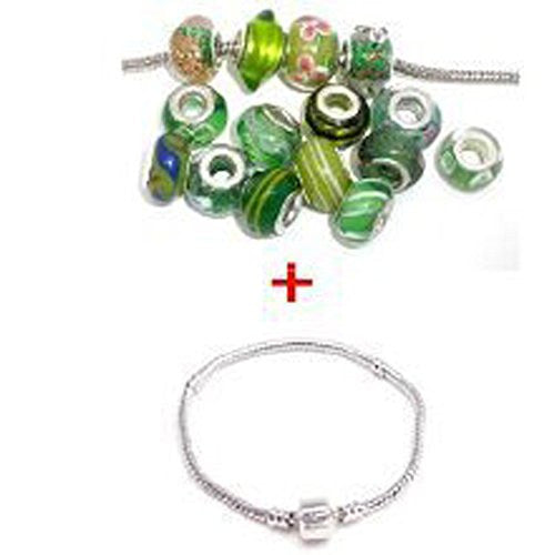 8 Inch Bracelet with Ten Assorted Green Glass Lampwork Beads