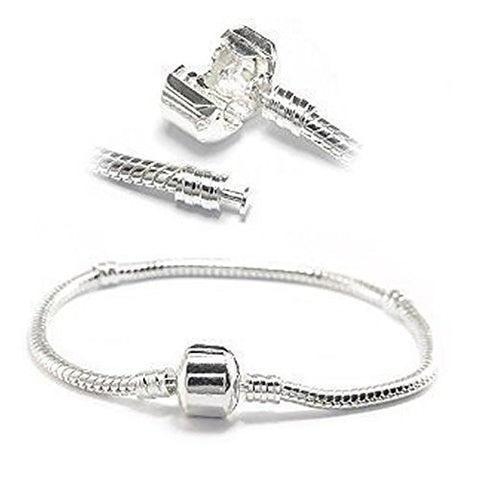 "Silver Tone Snake Chain Classic Bead Barrel Clasp Bracelet for Beads Charms (8.0"") - Sexy Sparkles Fashion Jewelry - 1"