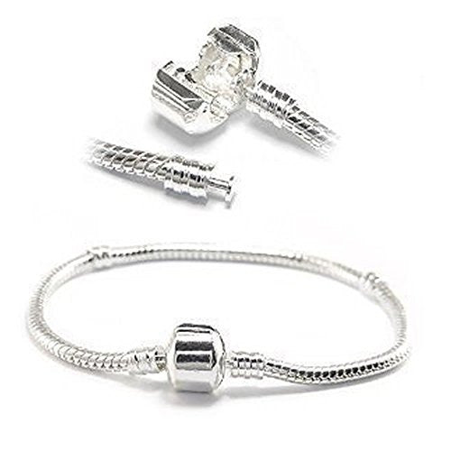 "Silver Tone Snake Chain Classic Bead Barrel Clasp Bracelet for Beads Charms (9.0"")"