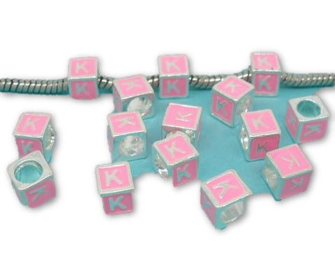 """K"" Letter Square Charm Beads Pink Enamel European Bead Compatible for Most European Snake Chain Charm Braceletss - Sexy Sparkles Fashion Jewelry"