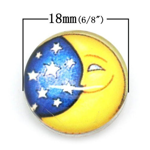 Stars and Moon Design Glass Chunk Charm Button Fits Chunk Bracelet - Sexy Sparkles Fashion Jewelry - 2
