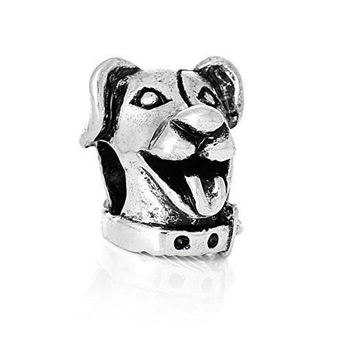 Cute Dog Head Charm Bead for European Snake Chain Charm Bracelet