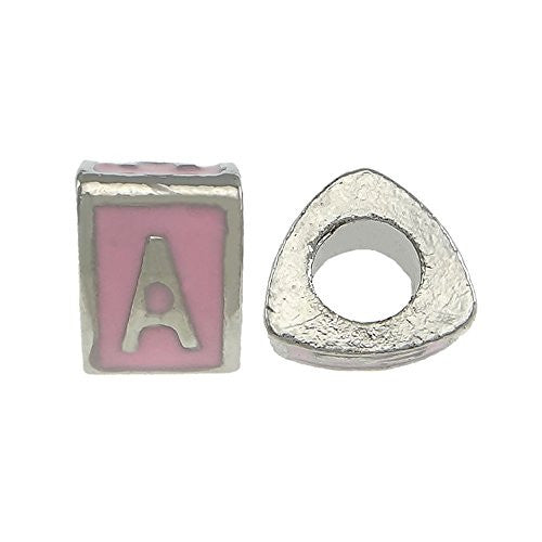 """A"" LetterTriangle Charm Beads Pink Spacer for Snake Chain Charm Bracelet - Sexy Sparkles Fashion Jewelry"