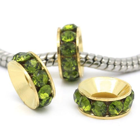 Copper Rhinestone Rondelle Spacer Beads Round Gold Plated W/Green Rhinestone - Sexy Sparkles Fashion Jewelry - 2