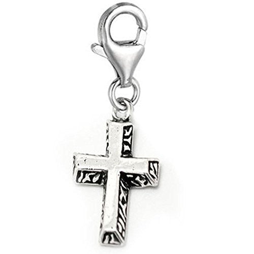 Clip-on Cross Charm Pendant for European Clip on Charm Jewelry w/ Lobster Clasp - Sexy Sparkles Fashion Jewelry - 1