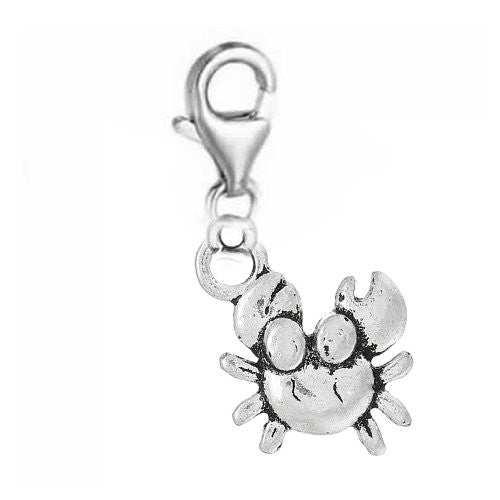 Clip on Crab Charm Pendant Dangle Charm Pendant for European Clip on Charm Jewelry w/ Lobster Clasp