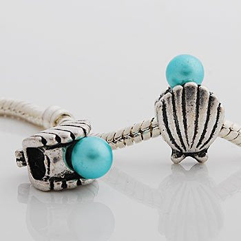 Sea Shell with Blue  Pearl Charm Spacer Beads for Snake Chain Charm Bracelet - Sexy Sparkles Fashion Jewelry - 2