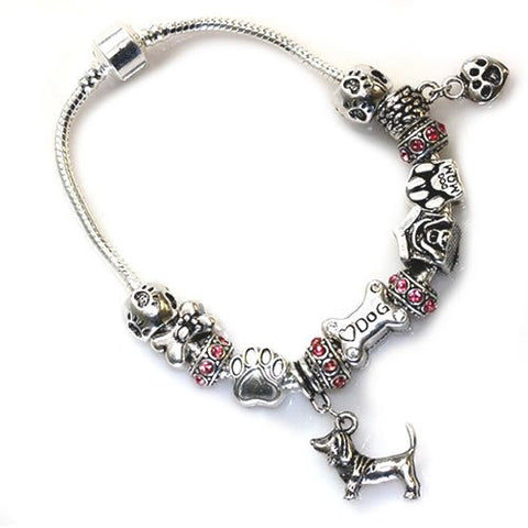"8.5"" Dog Lovers Snake Chain Charm Bracelet with Charms - Sexy Sparkles Fashion Jewelry - 2"