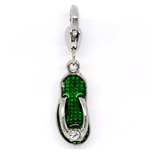 Clip on Green Flip Flop Shoe Pendant for European Jewelry w/ Lobster Clasp