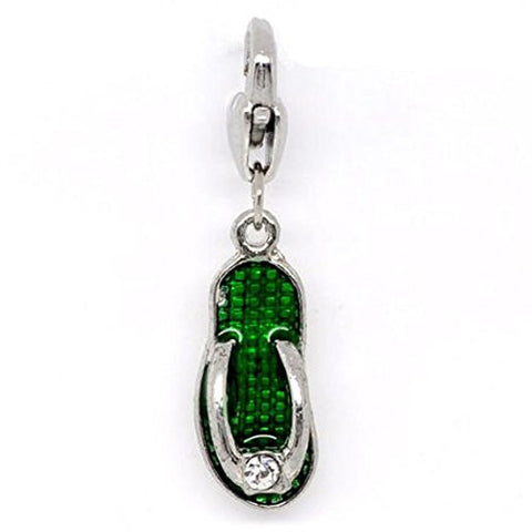 Clip on Green Flip Flop Shoe Pendant for European Jewelry w/ Lobster Clasp - Sexy Sparkles Fashion Jewelry - 1