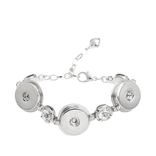 Chunk Lobster Clasp Bracelet Silver Tone Clear Rhinestone & Extender Chain Fit Snaps Chunk Buttons 16.5cm