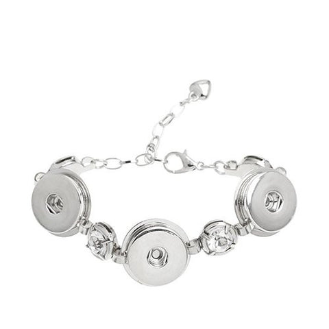 Chunk Lobster Clasp Bracelet Silver Tone Clear Rhinestone & Extender Chain Fit Snaps Chunk Buttons 16.5cm - Sexy Sparkles Fashion Jewelry - 1