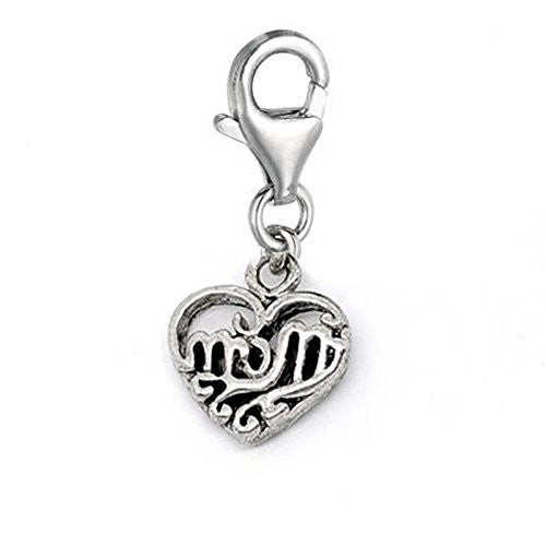 Clip on Mom Heart Dangle Charm Pendant for European Clip on Charm Jewelry w/ Lobster Clasp