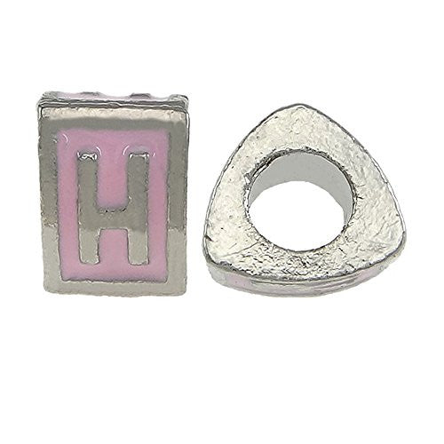 """H"" Letter Triangle Charm Beads Pink Spacer for Snake Chain Charm Bracelet"