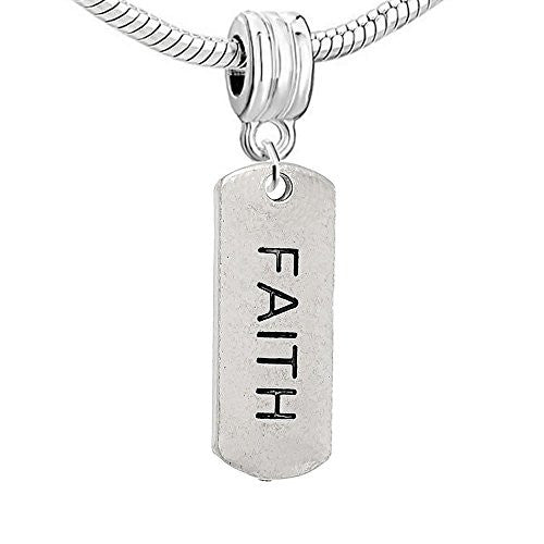 Dog Tag Inspiration/Strength Charm Bead (Faith)