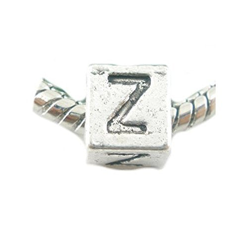 One Alphabet Block Beads Letter Z for European Snake Chain Charm Braclets
