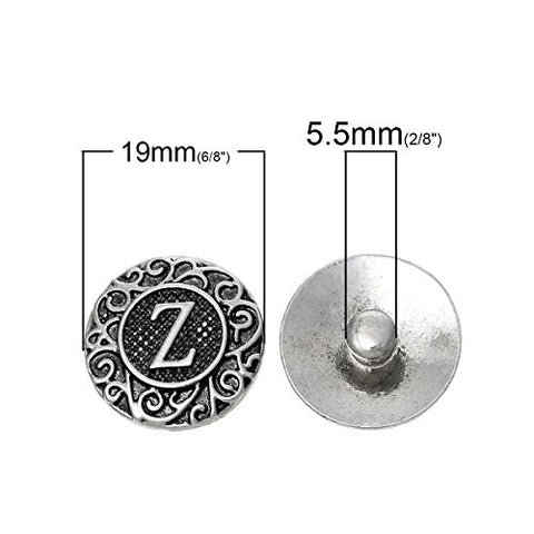 Alphabet Letter Z Chunk Snap Button or Pendant Fits Snaps Chunk Bracelet - Sexy Sparkles Fashion Jewelry - 3