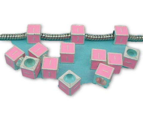 """I"" Letter Square Charm Beads Pink Enamel European Bead Compatible for Most European Snake Chain Charm Bracelet - Sexy Sparkles Fashion Jewelry"
