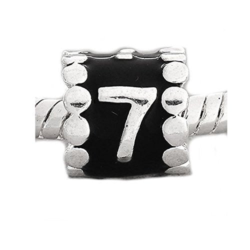 Black Enamel Number 7 Charm Compatible with European Snake Chain Charm Bracelet - Sexy Sparkles Fashion Jewelry - 1