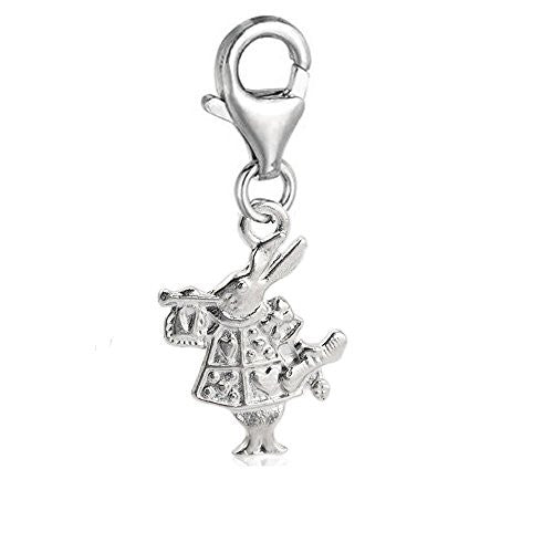 Rabbit Dangle Pendant for European Clip on Charm Jewelry w/ Lobster Clasp