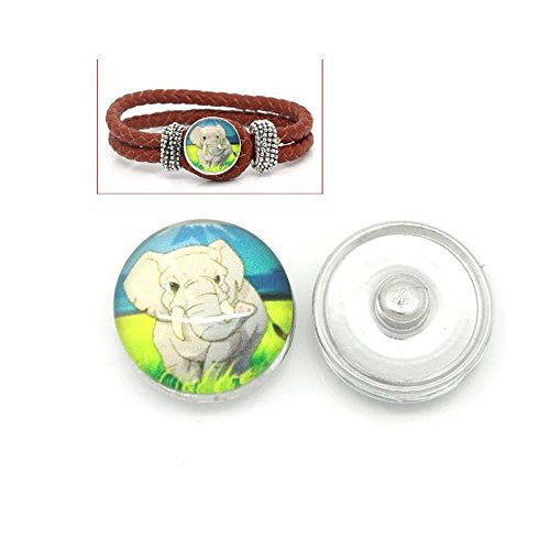 Elephant Design Glass Chunk Charm Button Fits Chunk Bracelet