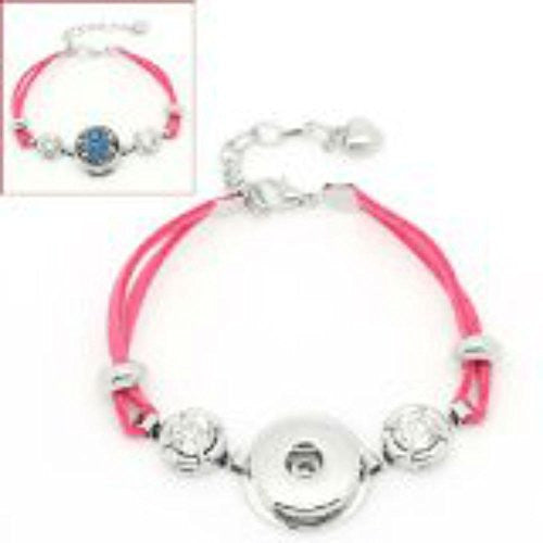 Pink Velvet Chunk Lobster Clasp Bracelet & Extender Chain Fits Snaps Chunk Button - Sexy Sparkles Fashion Jewelry - 1