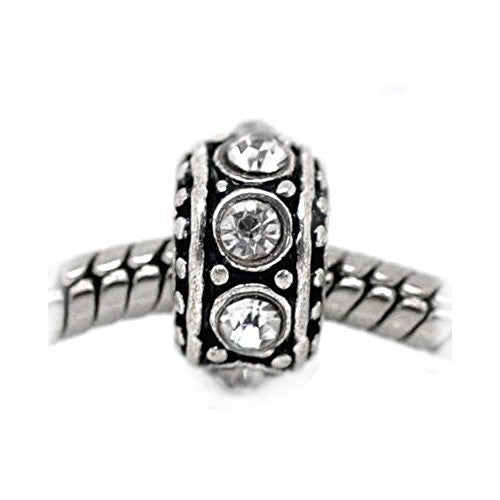 April Birthstone Antique Silver Rhinestone Spacer Beads Fit European Bracelet
